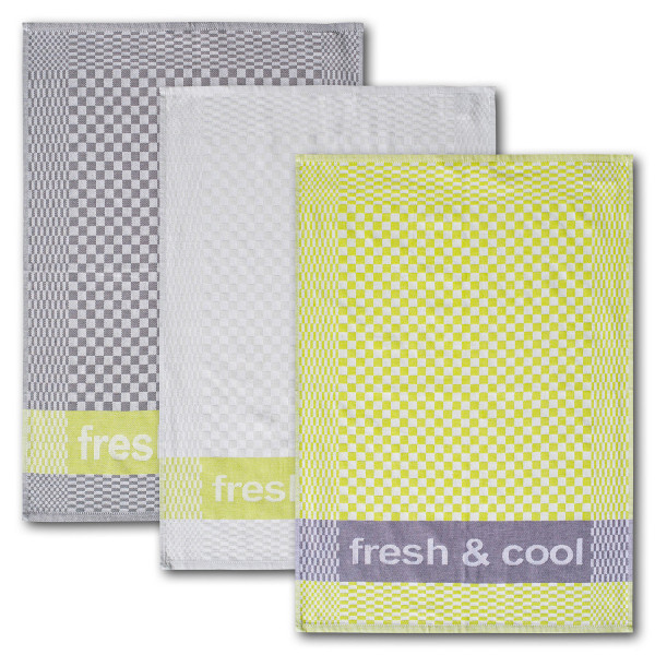 Geschirrtuch 3er-Set fresh & cool 100 % Baumwolle