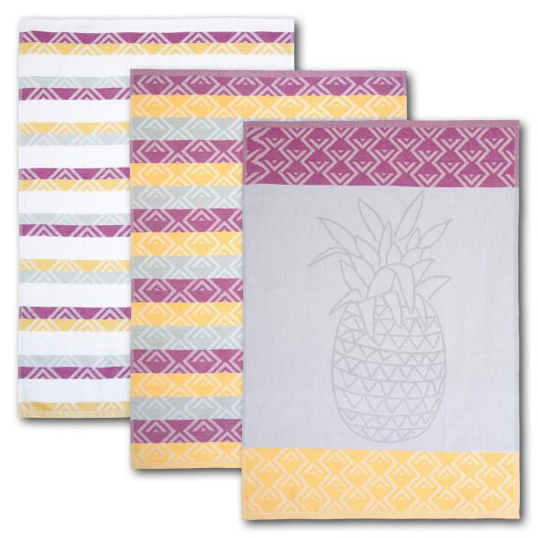 Geschirrtuch 3er-Set Ananas 100 % Baumwolle